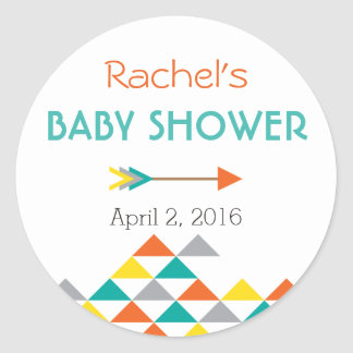 Trendy Tribal & Arrow Baby Shower Sticker Labels
