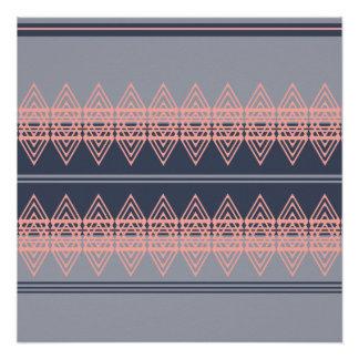Trendy Tribal Chevron Pattern Geometric Design Art Poster