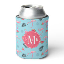 Trendy Tropical Flamingo & Watermelon Pattern Can Cooler