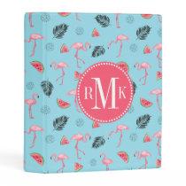 Trendy Tropical Flamingo & Watermelon Pattern Mini Binder
