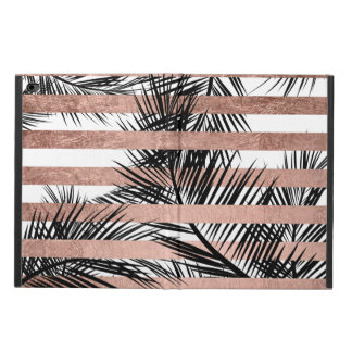 Trendy tropical palm trees chic rose gold stripes powis iPad air 2 case