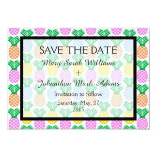 Trendy Tropical Pineapple Wedding Save The Date Card