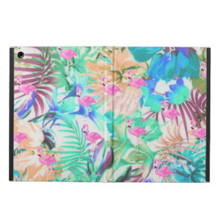 Trendy tropical teal pink floral flamingo iPad air cases