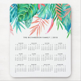 Trendy Tropical Watercolor | 2018 Calendar Mouse Pad