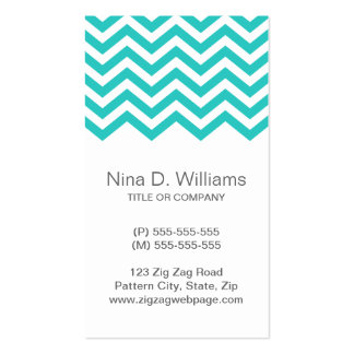 Trendy turquoise aqua chevron pattern, vertical Double-Sided standard business cards (Pack of 100)