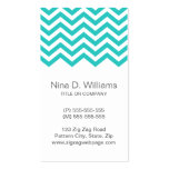 Trendy turquoise aqua chevron pattern, vertical business card template