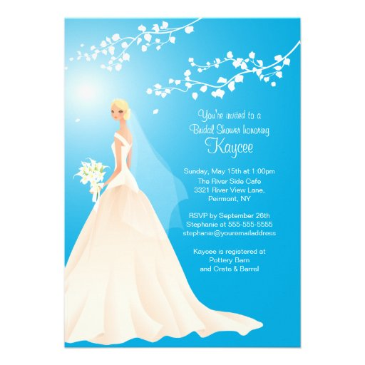 Trendy Turquoise BLONDE Bride Bridal Shower Invite