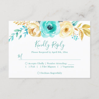 Trendy Turquoise Gold Floral Wedding RSVP Reply