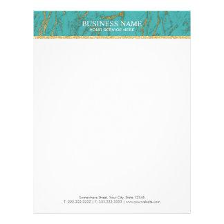 Trendy Turquoise & Gold Marble Elegant Letterhead