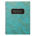 Trendy Turquoise & Gold Marble Texture Notebook