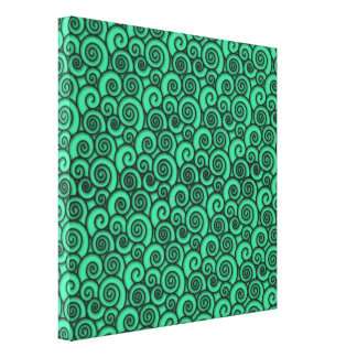 Trendy Turquoise Swirly Abstract Pattern Canvas Prints