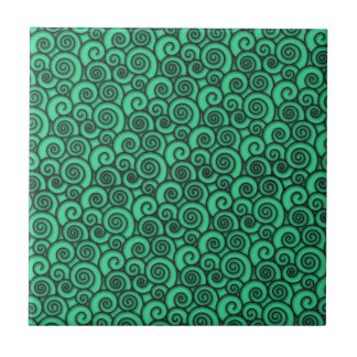 Trendy Turquoise Swirly Abstract Pattern Tile