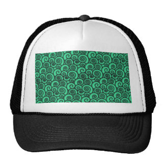 Trendy Turquoise Swirly Abstract Pattern Trucker Hat