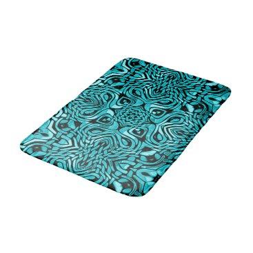 BathingAndBeaching Trendy Turquoise Teal Blue African Mosaic Pattern Bathroom Mat