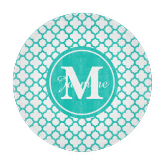 Trendy Turquoise White Quatrefoil Pattern Monogram Cutting Boards