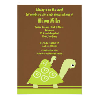 Trendy Turtle Baby Shower Invitation