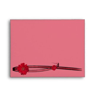 Trendy Two Red Daisy Sweep envelope