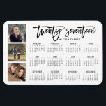 "Trendy Typography and Three Photos 2017 Calendar Magnet<br><div class=""desc"">This modern calendar magnet says &quot;twenty seventeen&quot; in trendy script typography,  with a 2017 calendar plus three of your personal photos. There is a spot for your name also.</div>"