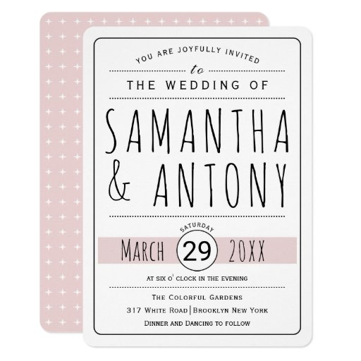 Trendy typography blush pink wedding invitation