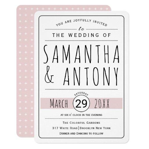 Trendy typography blush pink wedding invitation