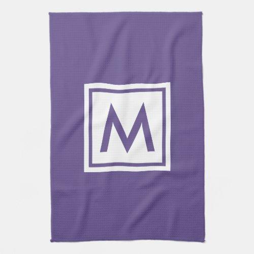 Trendy Ultra Violet Plain Color Monogram Square Hand Towel