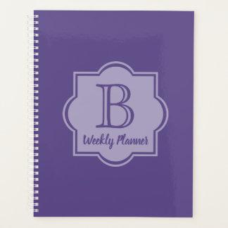 Trendy Ultra Violet Simple Logo Purple Monogram Planner