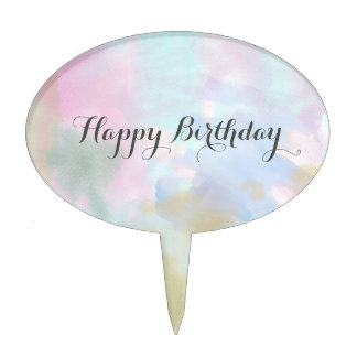 Trendy Unicorn Watercolor Cake Topper