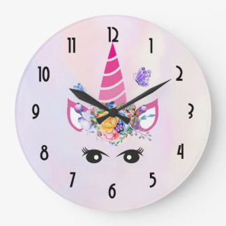 Trendy Unicorn with Floral Crown & Butterflies Large Clock