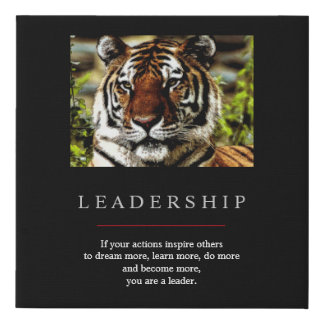 Trendy Unique Motivational Leadership Tiger Faux Canvas Print