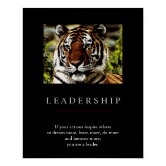 Trendy Unique Motivational Leadership Tiger Poster
