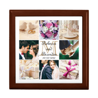 Trendy Unique Wedding Monogrammed Photo Collage Jewelry Box