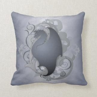 Trendy Urban Fantasy Silver Dragon Pillow