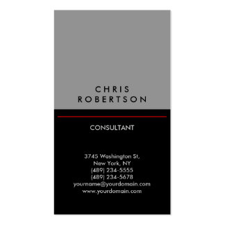 Trendy Vertical Grey Black Red Business Card