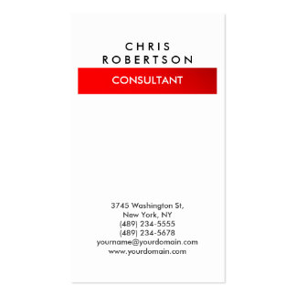 Trendy Vertical White Red Consultant Business Card