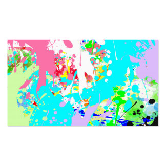 Trendy Vibrant Teal Pink Watercolor Splatters Double-Sided Standard Business Cards (Pack Of 100)