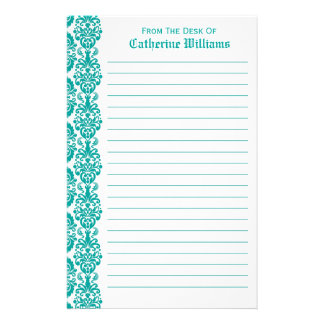 Trendy Victorian Blue Lace Damask Side Border Stationery