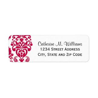 Trendy Victorian Hot Pink Lace Damask Return Address Labels