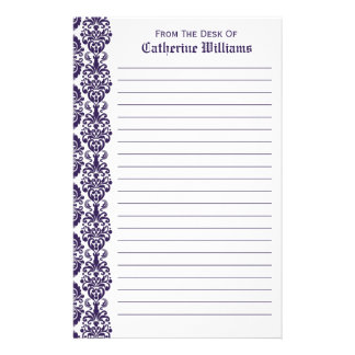 Trendy Victorian Purple Lace Damask Side Border Stationery