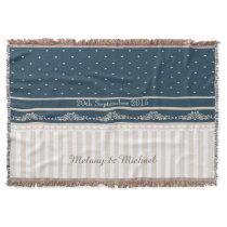 Trendy vintage damask lace stripes throw