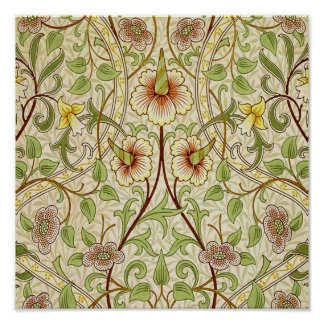 Trendy Vintage Decorator Floral Wallpaper Daffodil Poster
