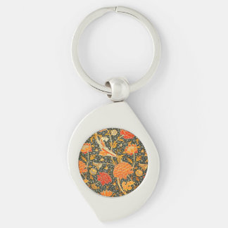Trendy Vintage Designer Floral Wallpaper Pattern Silver-Colored Swirl Metal Keychain
