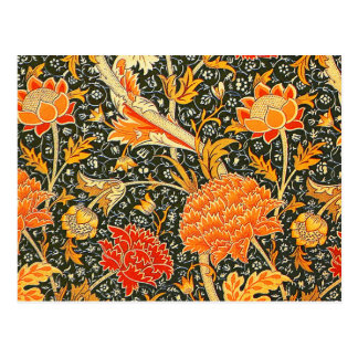 Trendy Vintage Designer Floral Wallpaper Pattern Postcard