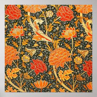 Trendy Vintage Designer Floral Wallpaper Pattern Poster