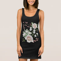 Trendy Vintage Floral Pink Rose Tunic Sleeveless Dress