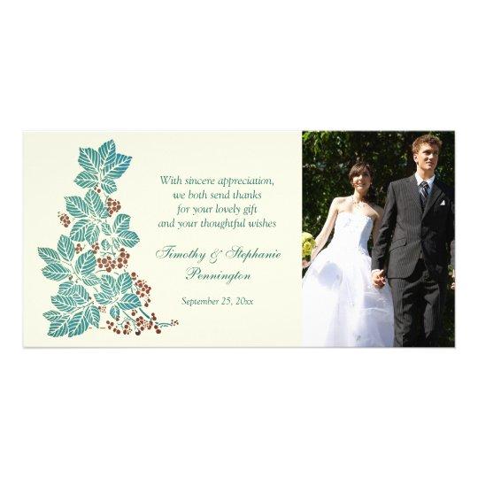Trendy vintage floral stamp wedding thank you card