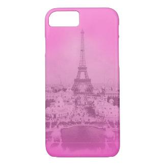 Trendy Vintage Paris & Eiffel tower Pink exposure iPhone 7 Case