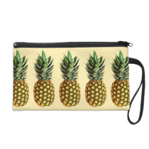 Trendy vintage pineapple art pattern wristlet bag