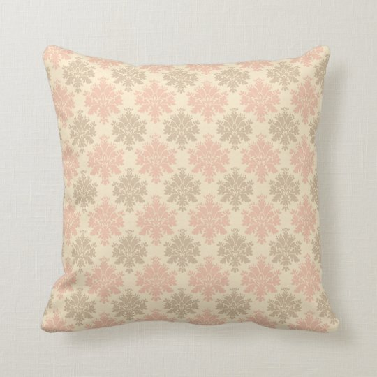 Trendy vintage pink + cream + taupe damask pillow