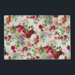"""Trendy Vintage Red and Pink Floral Print Placemat<br><div class=""""desc"""">This trendy vintage red and pink floral print is perfect for the elegant and classy lady. It&#39;s classic and beautiful pattern compliments the beauty of any sophisticated woman. This print as an antique feel while still keeping up with modern colors and vibrant hues.</div>"""
