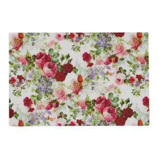 Trendy Vintage Red and Pink Floral Print Placemat